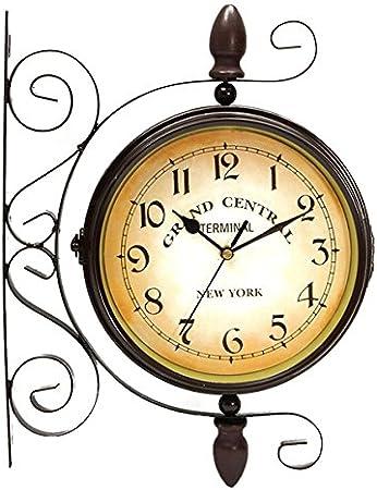 EsportsMJJ Rotación Doble Lado Pared Reloj Jardín Interior Y Exterior Estación Pared Montado con Soporte: Amazon.es: Hogar