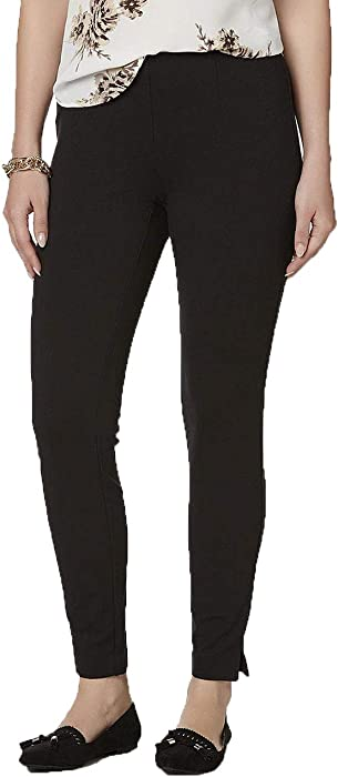 f446829e222765 BASIC EDITIONS Women's Ponte Knit Pants. Size:S/C. Black at Amazon ...