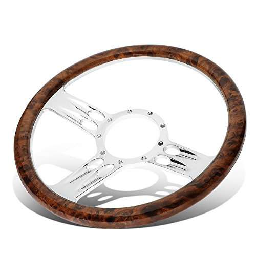 (Billet Aluminum 13.5 inches Wood Grain Lightweight 2.25 inches Deep Banjo Style Steering Wheel)