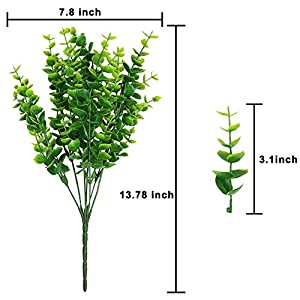ElaDeco Artificial Boxwood (Pack of 7),Artificial Farmhouse Greenery Boxwood Stems Fake Plants and Greenery Springs for Farmhouse,Home,Garden,Office,Patio,Wedding and Indoor Outdoor Decoration 2