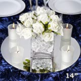 Tableclothsfactory 14'' Round Glass Mirror Wedding Party Table Decorations Centerpieces - 4 PCS