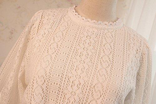 Purpura Erizo Femme Robe En Dentelle Longue Ajourée Manches 3/4 Col Ras Du Cou Taille Ajustée