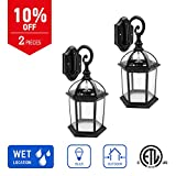 IN HOME 1-Light Outdoor Exterior Wall Down Lantern, Traditional Porch Patio Lighting Fixture L07 with One E26 Base, Water-Proof, Black Cast Aluminum Housing, Clear Glass Panels, (2 Pack) ETL Listed