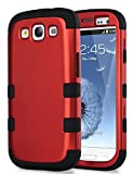 Galaxy S3 Case, S3 Case - ULAK [ Shock Resistant Series ] Hybrid Rubber Case Cover for Samsung Galaxy S3 III i9300 3in1 Hard Plastic +Soft Silicone (Titanium Red/Black)
