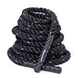 KYLIN SPORT Battle Rope 1.5″ Width 30FT/40FT/50FT Bootcamp Battling Power Rope Body Strength Training (40 FT)
