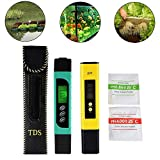 3in1 TDS+EC+Temp Meter and Digital LCD pH Meter with Auto Calibration Function,Accuracy Water Quality Monitor Pen Style Portable Tester for Drinking Water,Hydroponics,Gardening,Aquariums,Pools and Spas