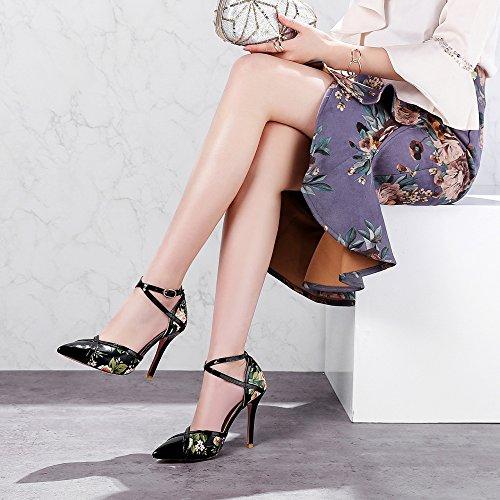 Femmes Floral Fleur Talons Hauts Croisés Cheville Sangle Bout Pointu Robe Pompes Mariage Partie Stiletto Glisser Sur Les Chaussures Black HWDKc