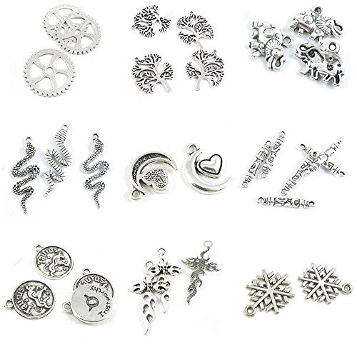 Snowflake Tag Charm - 30 PCS Jewelry Making Charms Snowflake Snow Flake Fire Skull Cross Taurus Tag Cylinder Connector Moon Heart