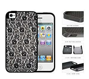Girly Tight Black Lace Pattern 2-Piece Dual Layer High Impact Rubber Silicone Cell Phone Case Apple iPhone 4 4s