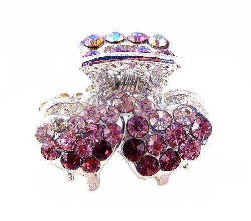 Crystal Double Heart Hair Clip - Purple ()