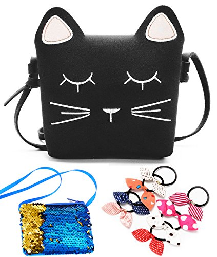 NEWANIMA Kids Cute Cat Dog Shoulder Bag, Crossbody Handbag Purses for Little Girls,Toddler - Black Treat Bags Cat