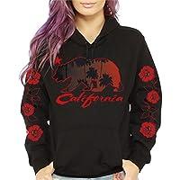 CaliDesign Women's California Republic Roses Palm Tree Pullover Sweatshirt Hoodie