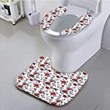 Auraisehome Toilet seat Cushion Antic Magnolia and Chrysanths Moms Flowering Plants English Petals Bathroom Machine-Washable
