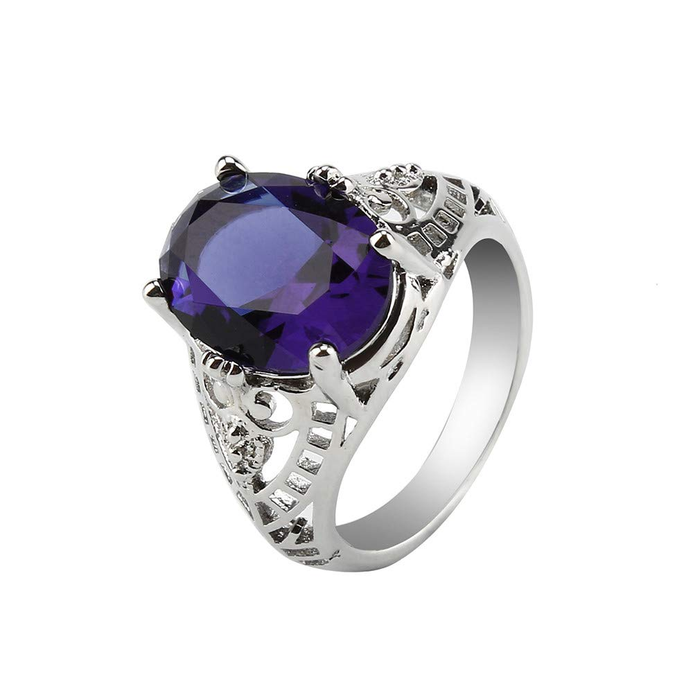 Rings for Unisex,Yamally Women's New Sterling Silver Created Amethyst Wedding Anniversary Ring for Women (8, Purple )