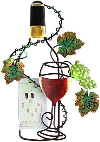 ARAD Kitchen Decor, Kitchen Wall Decor, Wine Decor, Farmhouse Kitchen Decor, for Men and Women – Hand Painted White Wine Bottle and Leaves Wall Decor
