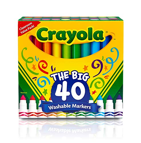 Crayola Ultra Clean Washable Broad Line Markers, 40 Classic Colors, Gift for Kids - Mark 1 Bucket