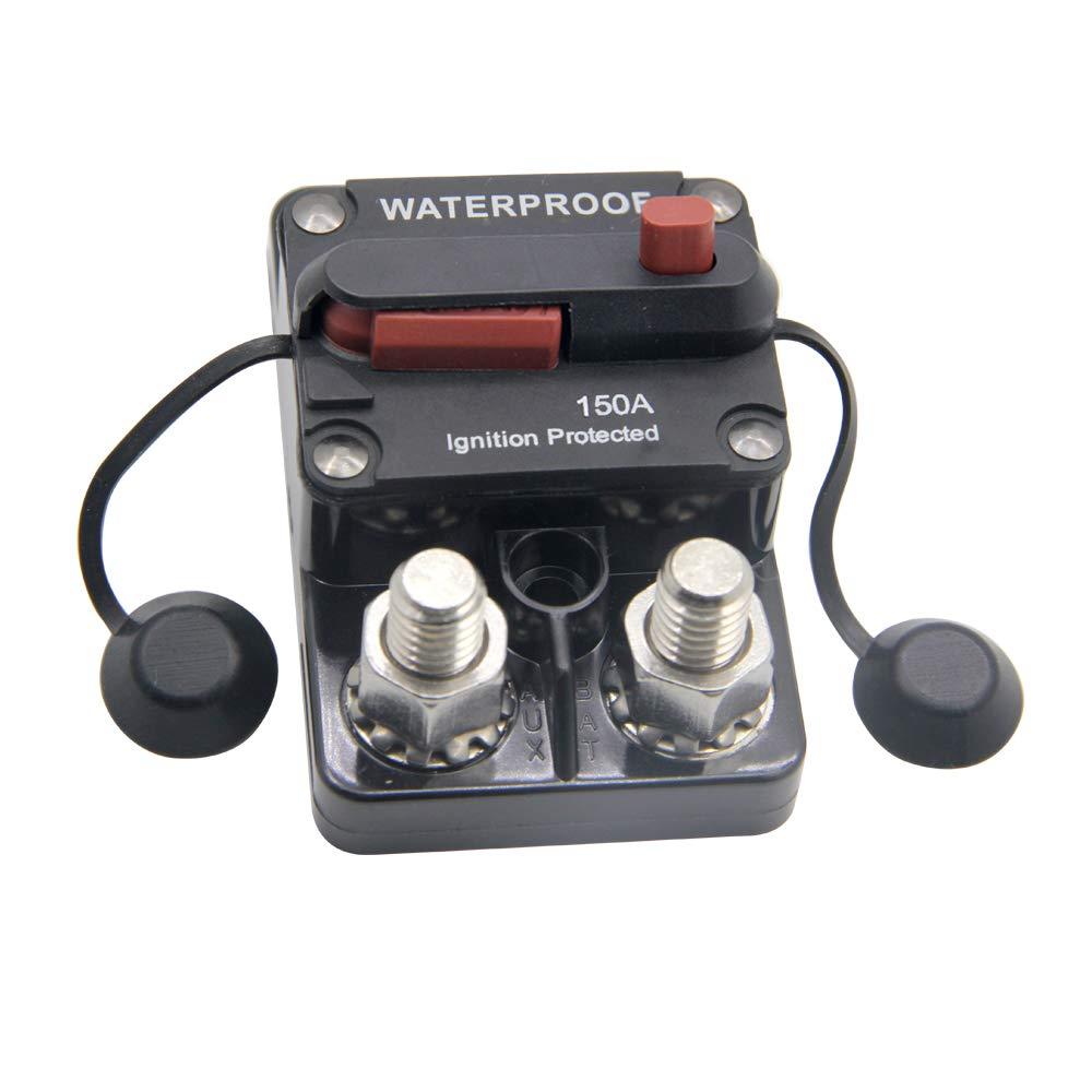 ZOOKOTO 12-48V DC 150A Surface Mount Circuit Breaker Manual Reset Waterproof 150Amp
