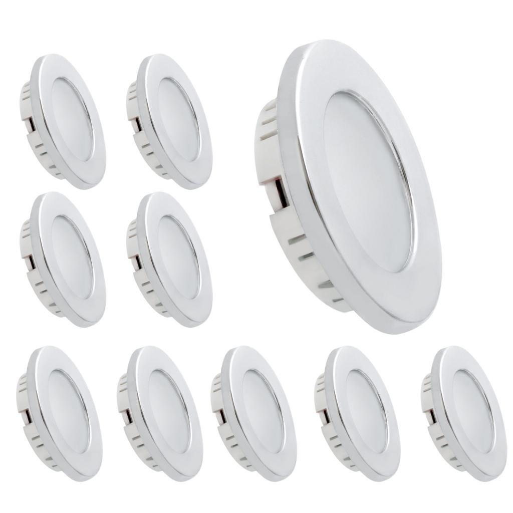 Dream Lighting LED 12volt DC Recessed Ceiling Light for RV Caravan Boat Cabin Kitchen, Warm White, Chrome plated, Pack of 10 by Dream Lighting