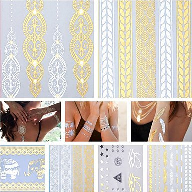 3PCS Colorful Tattoos+ 14PCS Flash Tattoo Gold Tattoo Flash Metallic Tattoo Metal Temporary Tattoo Sticker