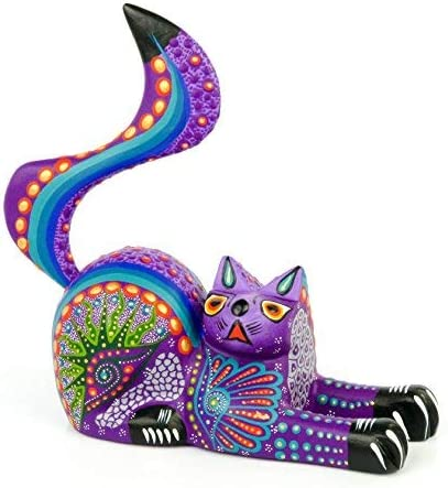 Alebrije Sitting Cat Oaxacan Wood Carving Mexican Handcrafted Sculpture Purple