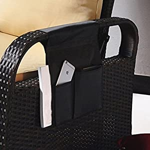 TV Remote Control Organizer Holder, Drapes Over Recliner Chair Armchair Caddy Pocket, Great for Ipad, Remote, Game Controller, Newspapers, Books, Pens, Magazine Holder, Black(19.68''L 12.6''W)