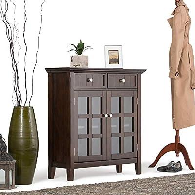Simpli Home Acadian Solid Wood 36 Inch Wide Rustic Entryway Hallway Storage Cabinet In Brunette Brown