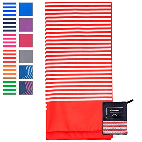 Microfiber Beach Towel for Travel - Oversized XL 70 x 35 Inch - Quick Dry, Sand Free, Extra Large, Lightweight with Zipper Bag - Compact, Perfect for Travel Towel and Beach Blanket (Red Coral)
