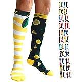Compression Socks (1 pair) by A-Swift - Mismatched, Fun, Unisex (Lemons, L/XL)