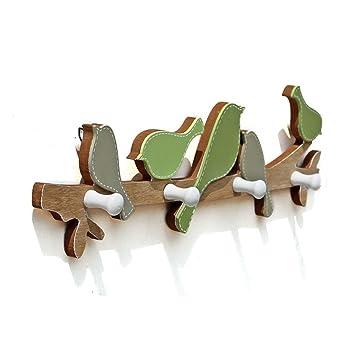 edxtech madera hogar decoración de jardín pájaro gancho perchero de pared de 4 ganchos sombrero perchero de pared Home: Amazon.es: Oficina y papelería