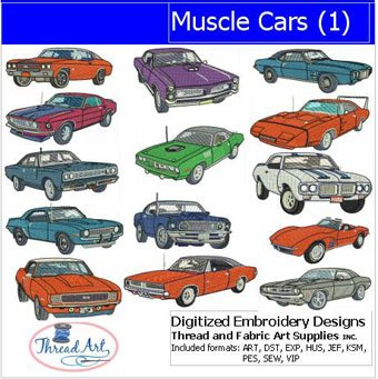 Threadart Machine Embroidery Designs - Muscle Cars(1) - USB Stick (Embroidery Cars Machine)