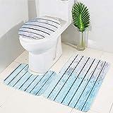 CqmzpdiC 3Pcs/Set Washable Anti Slip Ocean Pattern Carpet Bathroom Toilet Floor Mat Rug Blue