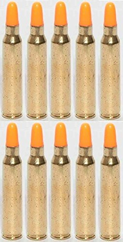St Action Pro Pack of 10 Inert .223 REM Remington 5.56 NATO M16 AR-15 Rifle Orange Safety Trainer Cartridge Dummy Ammunition Ammo Shell Rounds with Brass Case