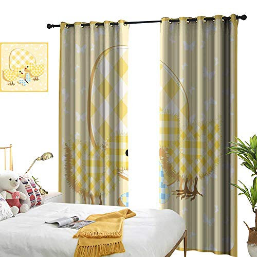 LewisColeridge Blackout Curtains Baby,Abstract Chick Design with Plaid Pattern Butterfly Giant Egg Funny,Yellow Pale Yellow Pale Blue,for Bedroom,Nursery,Living Room -
