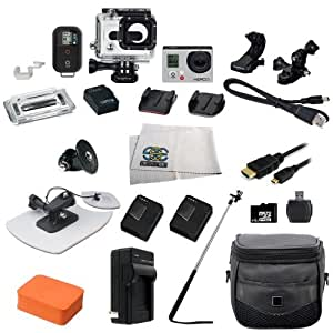 GoPro HERO3: Black Edition Camera (CHDHX-301) + Action Pro Series All In 1 Surf Kit Designed for Surboard Mount, PADDLEBOARD, KITEBOARD, WINDSURF, JET SKI, BOAT, Wave Runner, surfboard, bodyboard, ski, snowboard, kayak, wakeboard, & More watersports!! + Extra Necessary Accessories