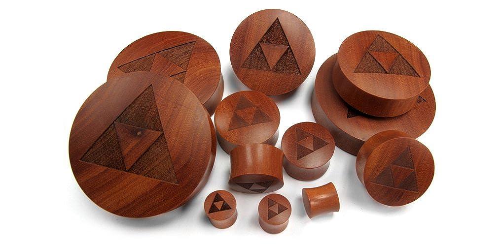 Engraved Heart Wood Plugs Pair of 1 Inch Gauge 25mm