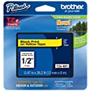 "Brother P-touch ~1/2"" (0.47"") Black on Yellow Standard Laminated Tape - 26.2 ft. (8m)"