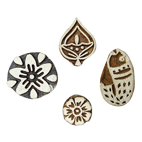 - Peegli Lot of 4 Pcs Indian Decorative Antique Wooden Block Print Stamp Brown Mixed Pattern DIY Craft Hand Carved Textile Printing Stamps