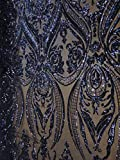 LUVFABRICS Victorian Sequin, Shiny, Fancy, Wedding, Prom, Dresses, Lingerie, Pageant Fabric by The Yard (Navy Blue)
