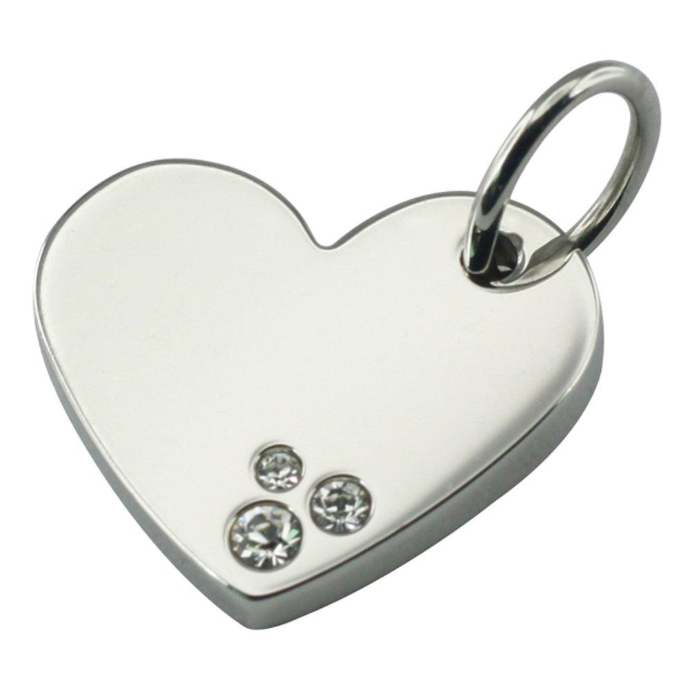 Pendentifs de Coeur de Puissance Vintage Bijoux magn/étiques en Acier Inoxydable Acier 4 Energetix Vous 1177 uni argent/é avec 3 Cristaux de Swarovski