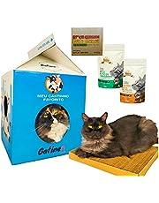 Combo Gatíneos Toys Arranhador para Gatos de Papelão Kraft com Toca Cat Milk Box 2in1 Cama para Gatos, Brinquedo para Gatos, Catnip, Petisco Snack Hana Prevenção Bola de Pelos e Pelos Saudáveis