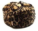 Animal Print Dark Brown Fur Winter Ushanka Russian Hat XXLarge Size with Secret Pocket and RED STAR Emblem (removable)