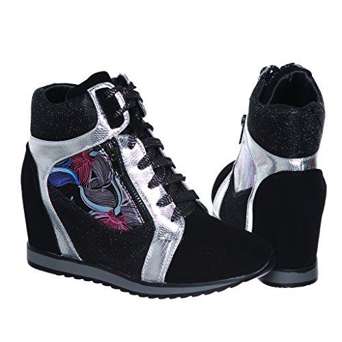 Shoewhatever Womens Metallic Glitter Alta Cima Stringate Con Zeppa Moda Sneakers Nero / Argento