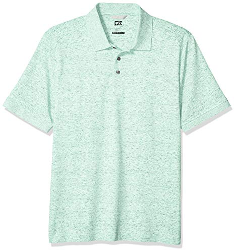 Tonal Jersey Stripe Polo - Cutter & Buck Men's Drytec Cotton+ Jersey 35+ UPF Advantage Space Dye Polo Shirt, Fresh Mint, Medium