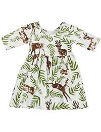b8063536c4cd Toddler Kids Baby Girl Half Sleeve Leaf Deer Princess Holiday Dresses  Summer Clothes