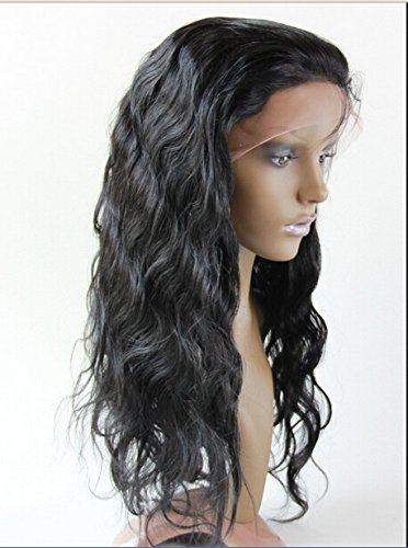 "2018 New DaJun Hair 22"" Human Hair Full Lace Wigs With Baby Hair Chinese Virgin Remy Human Hair Body Wave Color #1 Jet Black"