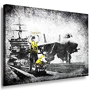 Banksy Graffiti Street Art -1057, Size 100x70x2 Cm. Printed On Canvas Stretched On A Wooden Frame.