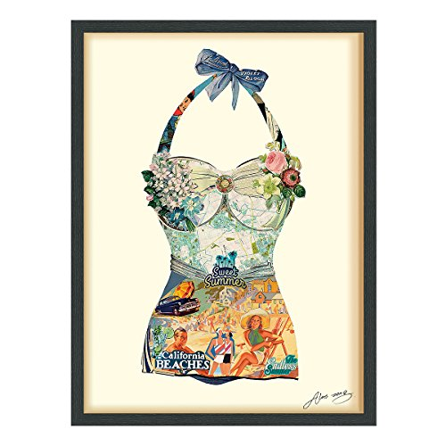 Empire Art Direct ''California Beach'' Dimensional Art Collage Hand Signed by Alex Zeng Framed Graphic Wall Art by Empire Art Direct