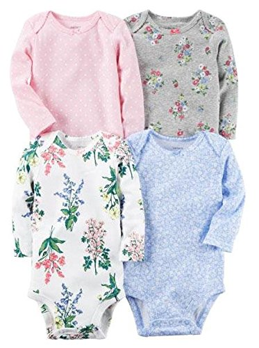 Carter's Girls' Multi-Pk Bodysuits 126g599, Floral, Newborn Baby