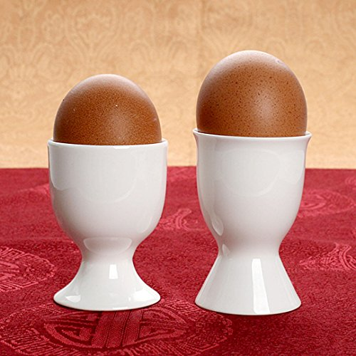 Felice White Porcelain Egg Cup Boiled Egg Serving Cup Stoneware Egg Cups Holders Stands by Felice (Image #2)
