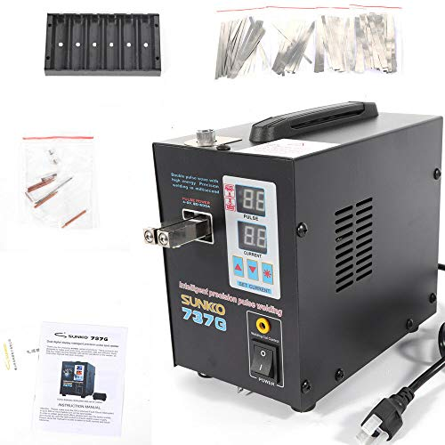 SUNKKO 737G Battery Spot Welder with Pulse & Current Display USA AC110V Hand Held 737G 2A-15A Precision Pulse Welding W/Pulse Current Display 800A 110V